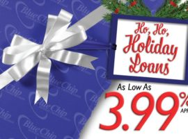 present wrapped in Blue Chip wrapping paper with a tag that says ho, ho, holiday loans as low as 3.99% APR.