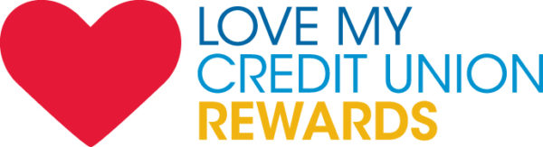 A big red heart with verbiage beside it reading love my credit union rewards