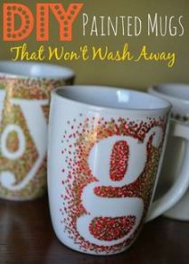 homemade mug decorated with sharpie markers and letters
