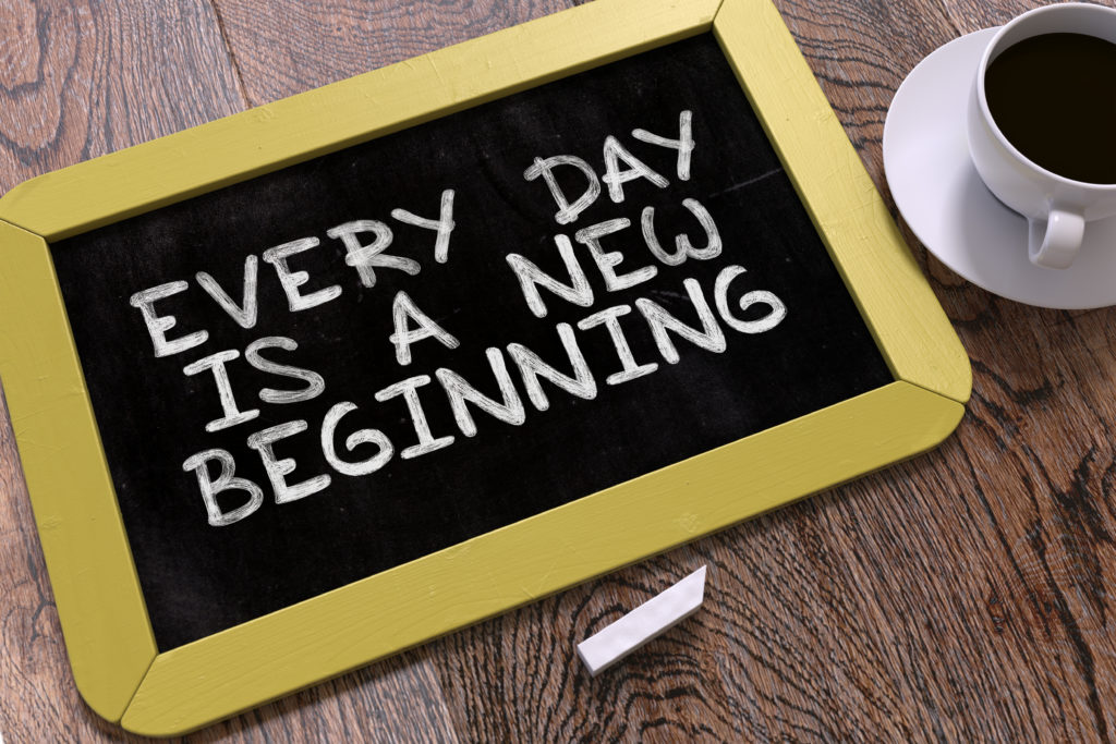 Hand Drawn Every Day is a New Beginning Concept  on Small Yellow Chalkboard. Business Background.