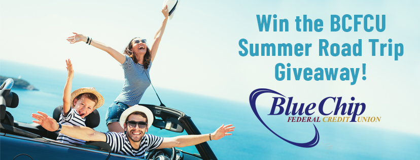 "Happy Family driving in a convertible celebrating a road trip by the beach. Text reads, ""Win the BCFCU Summer Road trip giveaway!"""