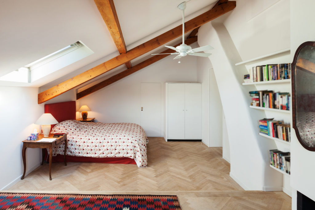 attic space renovated into a bedroom.