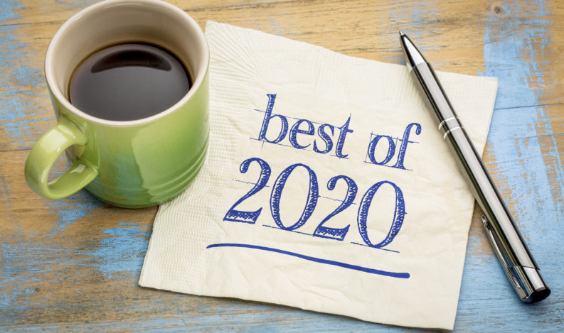 best of 2020 - handwriting on a napkin with a cup of coffee, product or business review of the recent year