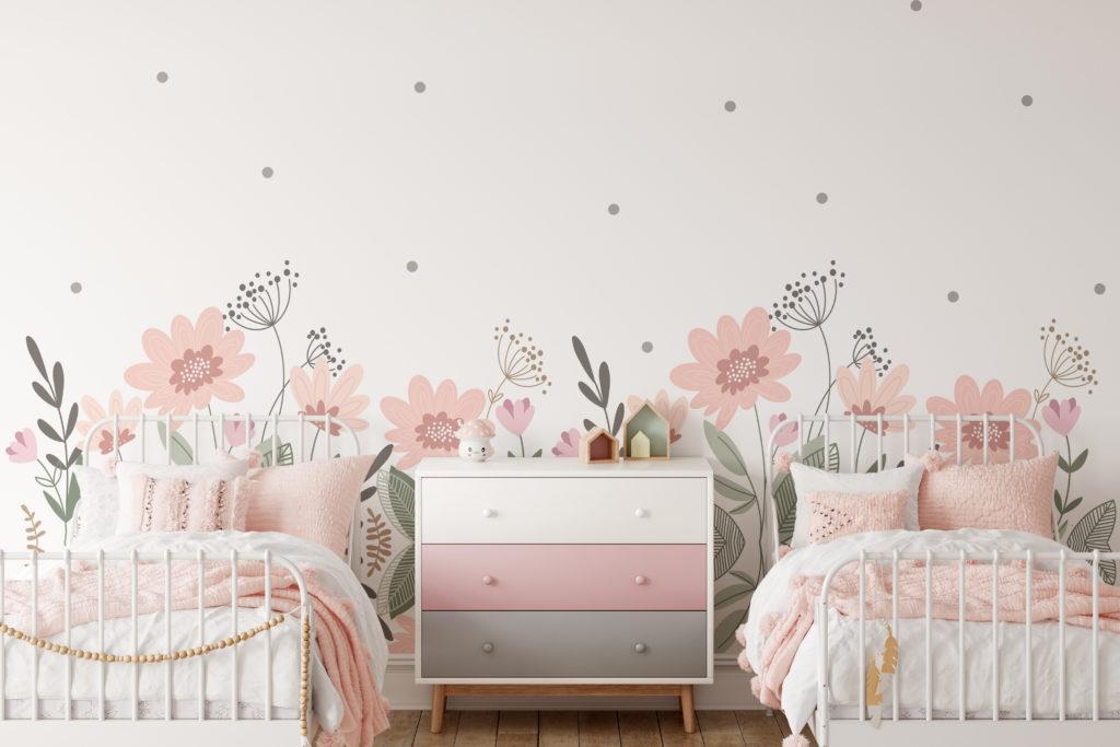 wallpaper in girl's bedroom